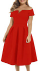 Lalagen Women'S Plus Size Vintage 1950S Party Cocktail Wedding Swing Midi Dress