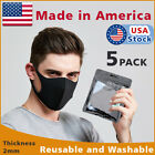 5 PACK Black Face Fashion Mask Washable Reusable Unisex Adult MASK Made IN USA