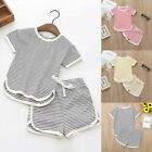 Toddler Kids Baby Girls Boys Striped Tops T-Shirt Shorts Pants 2PCS Clothes Set