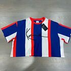 New Karl Kani Signature Striped Cropped S/S Top Women's Retro Blue White Red