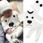 Kyпить US Infant Baby Girl Boy Long Sleeve Top Pant Hat Outfits 3PCS Set Fluffy Clothes на еВаy.соm