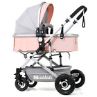Luxury Baby Stroller Newborn Pushchair W/ Infant Basket Car Seat Foldable Buggy