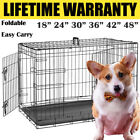 Dog Cage Puppy Pet Crate Carrier - Small Medium Large S M L XL XXL Metal Folding