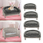 Wicker Pet Bed Fluffy Soft Raised Cat Dog Sofa Couch with Cushion Mat Blanket