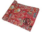 Cotton Handmade Floral Kantha Quilt Twin & King Size Bedding Bedspread Red Color