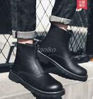 British warm Mens PU leather Front zipper Chelsea high top ankle boots Sz shoes