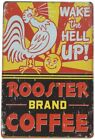Retro Vintage Tin Sign Rooster Brand Coffee Wall Decor for Home Kitchen Diner Ba