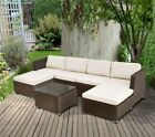 Rattan 6 Seaters Garden Furniture Set Pation Sofa Stool Table Chair Set