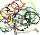 Variety Of Symbol Themed Charm Waxed Cotton Friendship Wish Bracelets