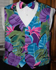Tropical Purple Floral Fullback Tuxedo Vest and Bow Tie
