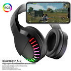 RGB Light Bluetooth 5.0 Gaming Headset Wireless Stereo Headphones W/ Microphone