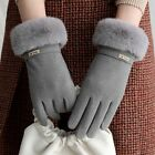 Gloves Cashmere Velvet Plush Touch Screen Driving Windproof Button Letter Winter