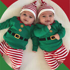USA Christmas Toddler Baby Boy Clothes Elf Romper Jumpsuit Striped Pants Outfits