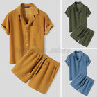 Mens Corduroy Casual Set Short Sleeve Shirt Shorts Pajamas Set Lounge Sleepwears