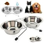 Stainless Steel Double Diner Pet Bowls Dog Cat Raised Stand Feeding Station