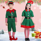 Unisex Adult Kids Elf Costume Christmas Fancy Dress Santa Family Cosplay Outfits