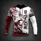 The Red Alpha King Lion Hoodie 3D Print