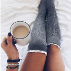 Women Crochet Knit Knee High Boot Socks Stocking Lace Trim Rhinestone Leg Warm
