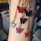 Women Colorful Choker Acrylic Butterfly Pendant Necklace Long Chain Jewelry Gift