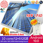 """New 2020 10.1"""" Android 10.0 12+512g Gsm Pc Google Gps Dual Camera Wifi Tablet"""