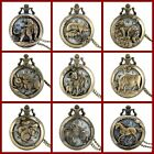 Bronze Vintage Style Chinese Zodiac Sign Pocket Watch Pendant For Men /...