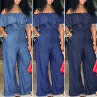 Womens Playsuit Ruffle Party Club Jumpsuit Long Pants Wide Leg Rompers Dungarees
