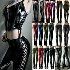 Medieval Gothic Steampunk Women Skinny PU Leather Trousers Zipper Pencil Pants
