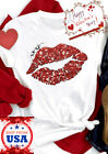 Valentines Day Xo Xo Red Lips Print Love Casual Short Sleeves T Shirt Tee Gift