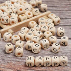 Engraving Alphabet/Number Mom DIY Necklace Beads Natural Wooden Baby Teether