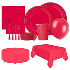 Disposable Ruby Red Paper Cups Plates Napkins Tableware Party