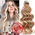 60PCS Russian Tape In Remy Human Hair Extensions Skin Weft Full Head Blonde Wavy