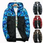 Men Military Camo Windbreaker Hoodie Hooded Sweatshirt Jacket Coat Outwear Top