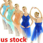 US Women's Girls Sequins Halter Ballet Leotard Lyrical Dance Irregular Dresse