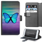 Purple And Blue Butterfly Deluxe PU Leather Wallet Phone Case, Flip Case