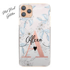 Personalised Initial Phone Case, Pink/Flower/Marble Hard Cover For Huawei Y6/Y7