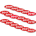 Oval Year Red & White Car Dealer Windshield Oval Year Model Sticker You Pick