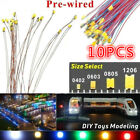 10pcs Pre-soldered Micro LED Pre-wired Light  DIY Model Kit 0402 0603 0805 1206