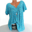 Plus Size Women Short Sleeve T-Shirt V Neck Summer Casual Floral Blouse Tops Tee