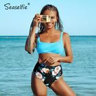 SEASELFIE Blue and Floral High Waisted Bikini Sets Women Sexy Removable Pads