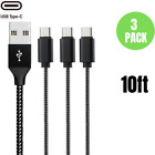 3X Braided 10ft USB C Charger Cable Type C Fast Charging Data Cord For Samsung