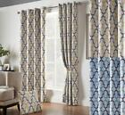 1 Pair Of Georgia Geometric Unlined Thermal Blockout Eyelet Curtains 2 Colours