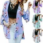 Damen Chiffon Lose Blumen Cardigan Jacke Kimono Outwear Bikini Cover Up Mantel