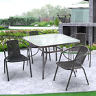 Garden Patio Furniture Coffee Table/chairs Glass Table With Parasol Hole Outdoor