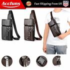 Men Military Chest Pack PU Leather Fanny Pack Dual Use Pouch Purse Shoulder Bag