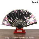 Chinese Retro Folding Fans Floral Fabric Plastic Handle Dance Party Wedding Prop