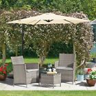 Garden Rattan Bistro Furniture Set 3pc Outdoor Patio Conservatory Table & Chairs