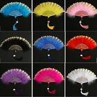 Fans Vintage Style Feather Fan With Tassels Embroidered Flower Folding Fans