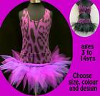 GIRLS TUTU DANCE COSTUME JUNGLE CATS THEME FREESTYLE SOLO CAVE GIRL SKATING
