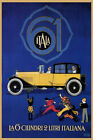 ITALA 61 CAR THE 6-CYLINDER 2 LITRE ITALIAN PEOPLE CHEERING VINTAGE POSTER REPRO