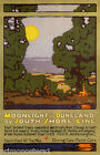 MOONLIGHT DUNELAND SOUTH SHORE CHICAGO BEND TRAVEL AMERICAN VINTAGE POSTER REPRO